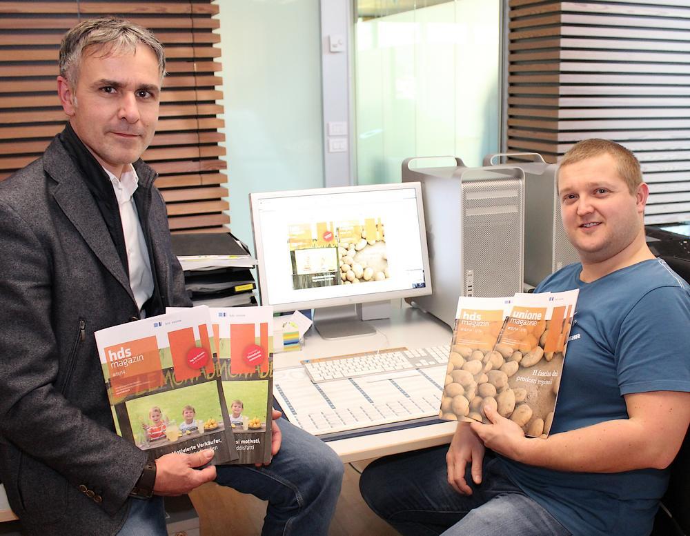 Mauro Stoffella (l.), Verantwortlicher Schriftleiter des hdsmagazin, mit Mediendesigner Stefano Hochkofler