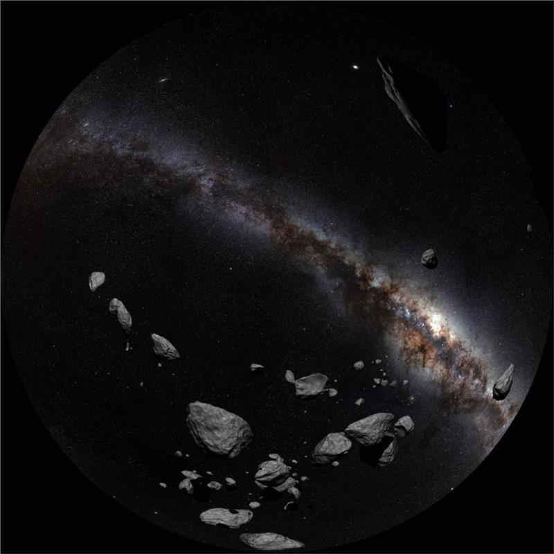 Asteroiden im Sonnensystem (FOTO T. Matsopoulos, ESO-S. Brunier)